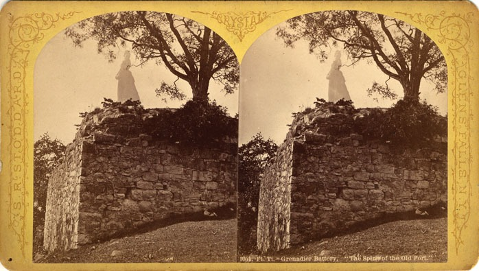 Crumbling stone walls with ghost of woman