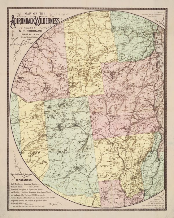 Print: Map of the Adirondack Wilderness by S. R. Stoddard