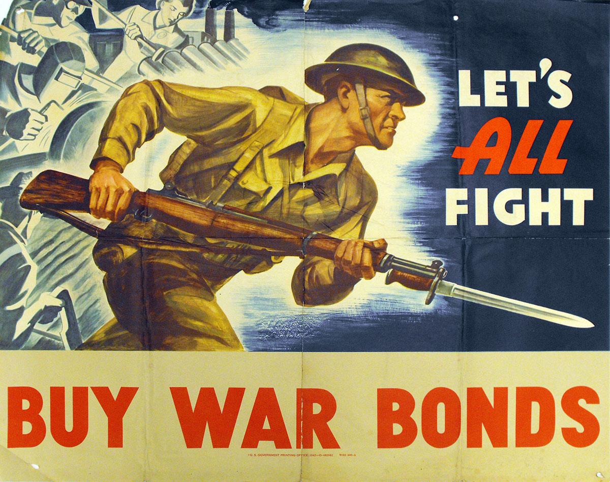 Let's All Fight - Buy War Bonds Poster