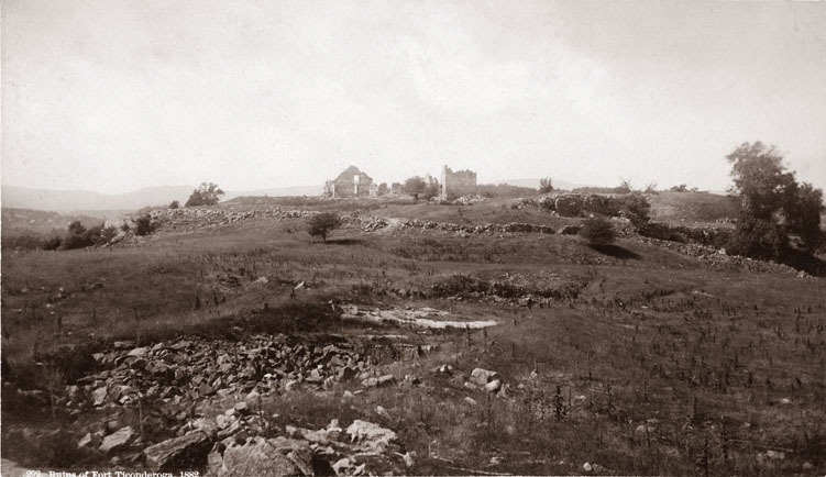 remains of stone fort seen from distance