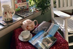 Adirondack books on a sidetable with tea pot and tea cup