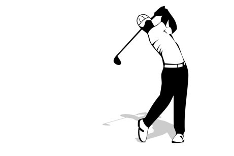 illustration of golfer teeing off