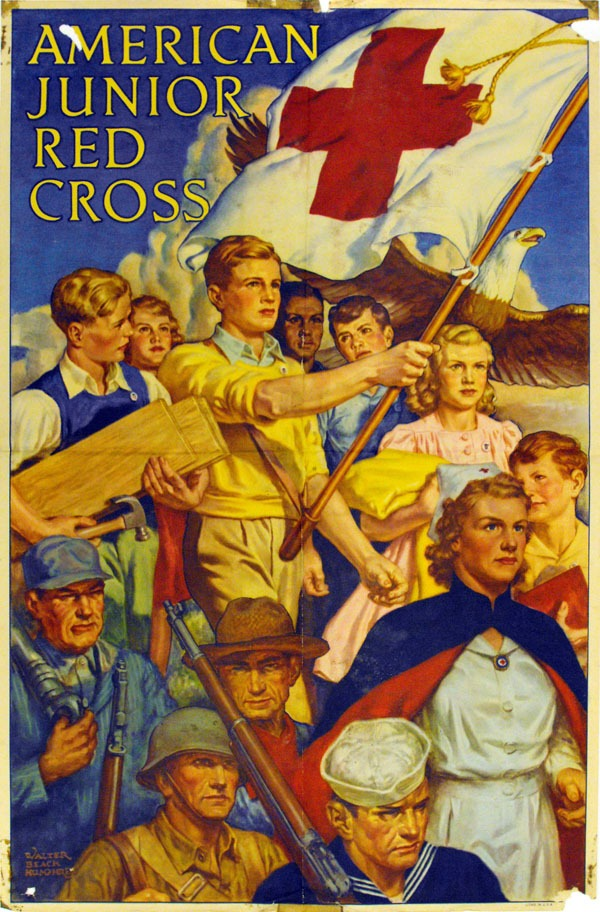 people in occupational clothing with a red cross flag