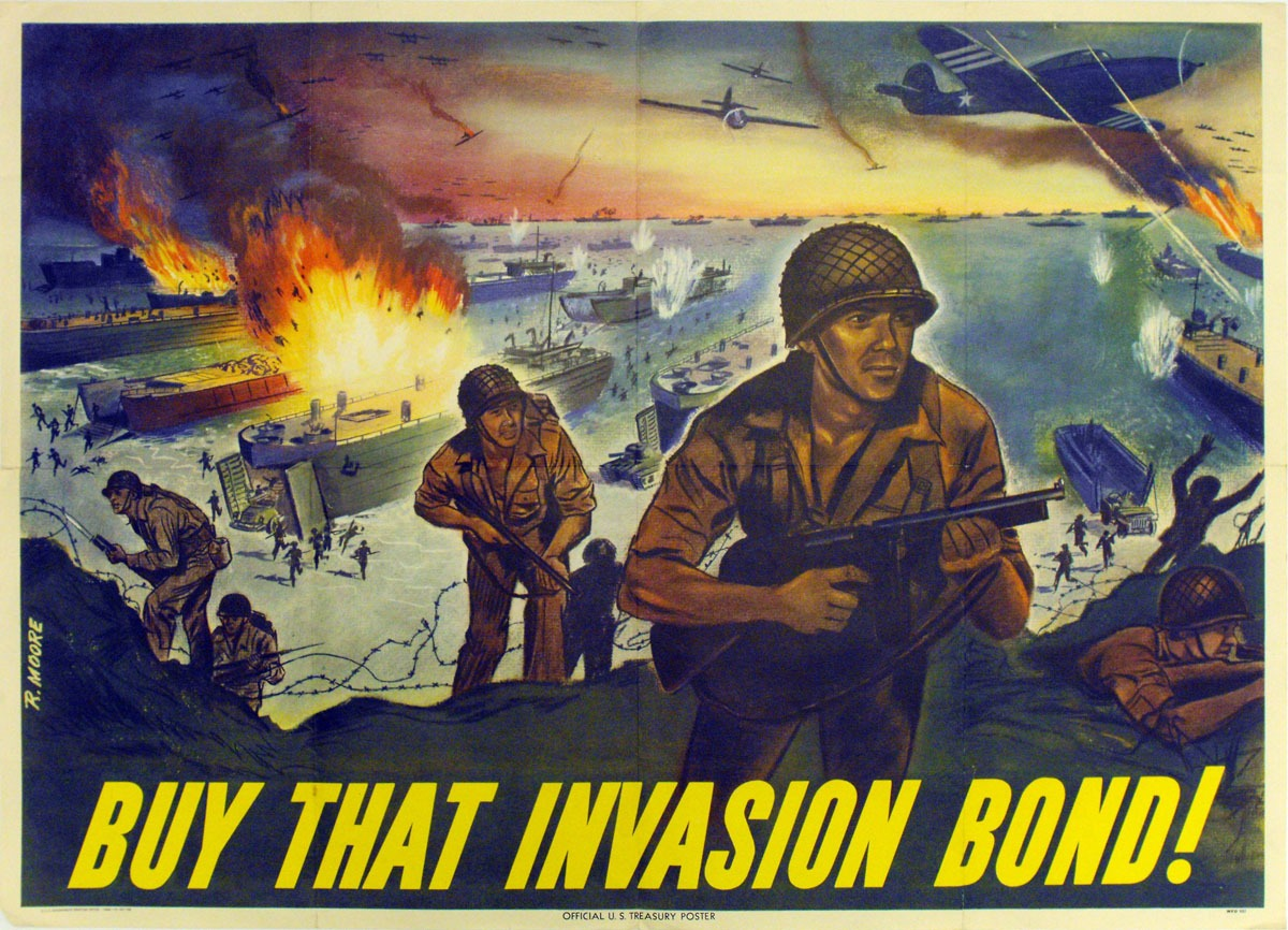 Soldiers fighting in front of invasion force