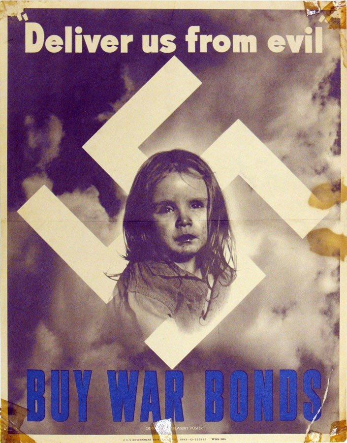 girl's face in center of a swastika