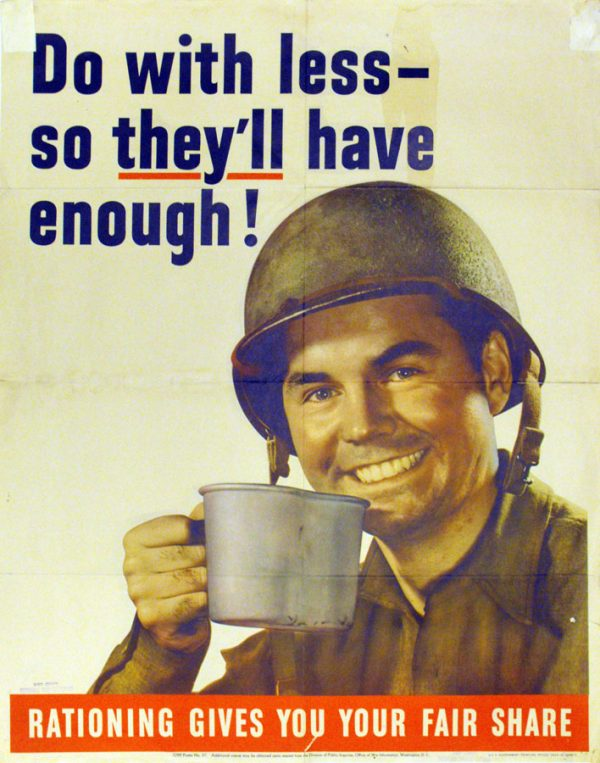 soldier drinking out of a tin cup
