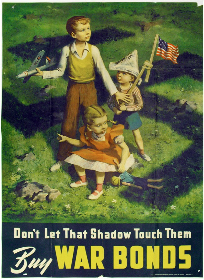 3 children in a yard with the shadow of a swastika over them