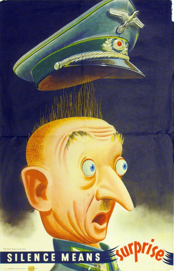 caricature of Hitler with eyes bulging an hat popping off of his head