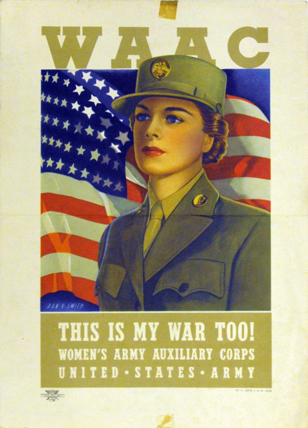 woman in army iniform in fron of a flag