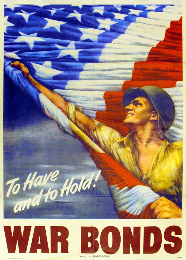 Soldier waving flag