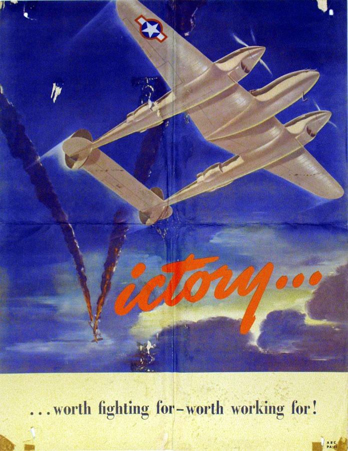 airplane and smoke plume shaped as a V
