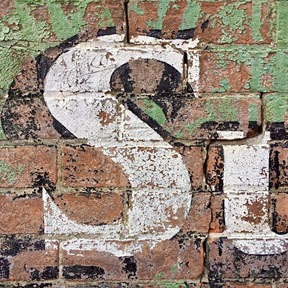 detail of ghost sign