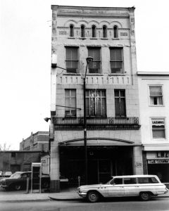front of vacant store building
