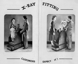 people demonstrating an X-ray fitting machine