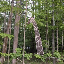 painted giraffe in the trees