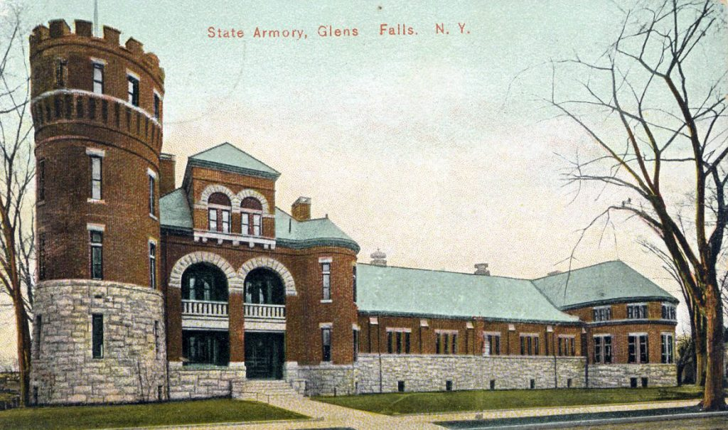 color postcard of brick armory building