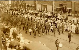soldiers marching in street