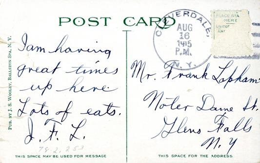 writing on back of postcard