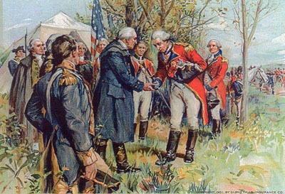 Soldier in red uniform surrenduring to soldier in blue.
