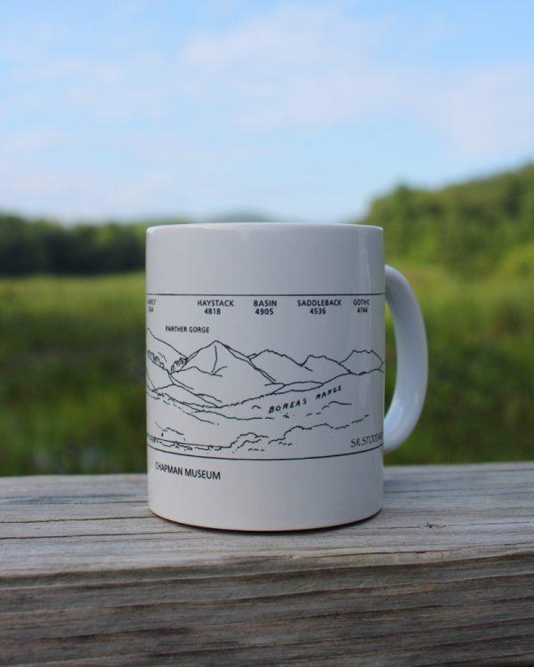white mug with sketch of mountains